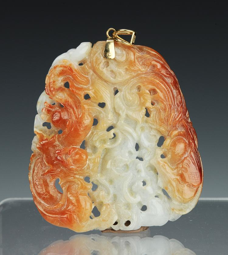 Brown & White Carved Jadeite, Early 20th Century