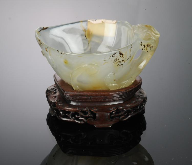 Agate Cup with Chilong Handle, Ming Dynasty