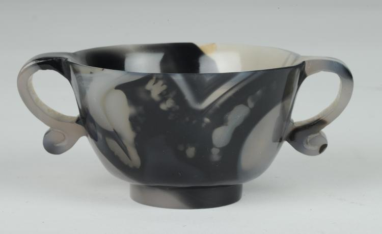 Black & White Agate Two-Handled Cup