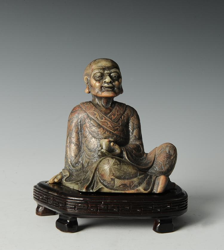 Seated Soapstone Lohan, 20th Century