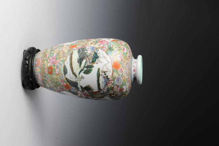 Millefleur Vase with Wooden Base