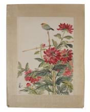 CHINESE PAINTING WITH BIRD AND FLOWERS BY WANG YACHEN