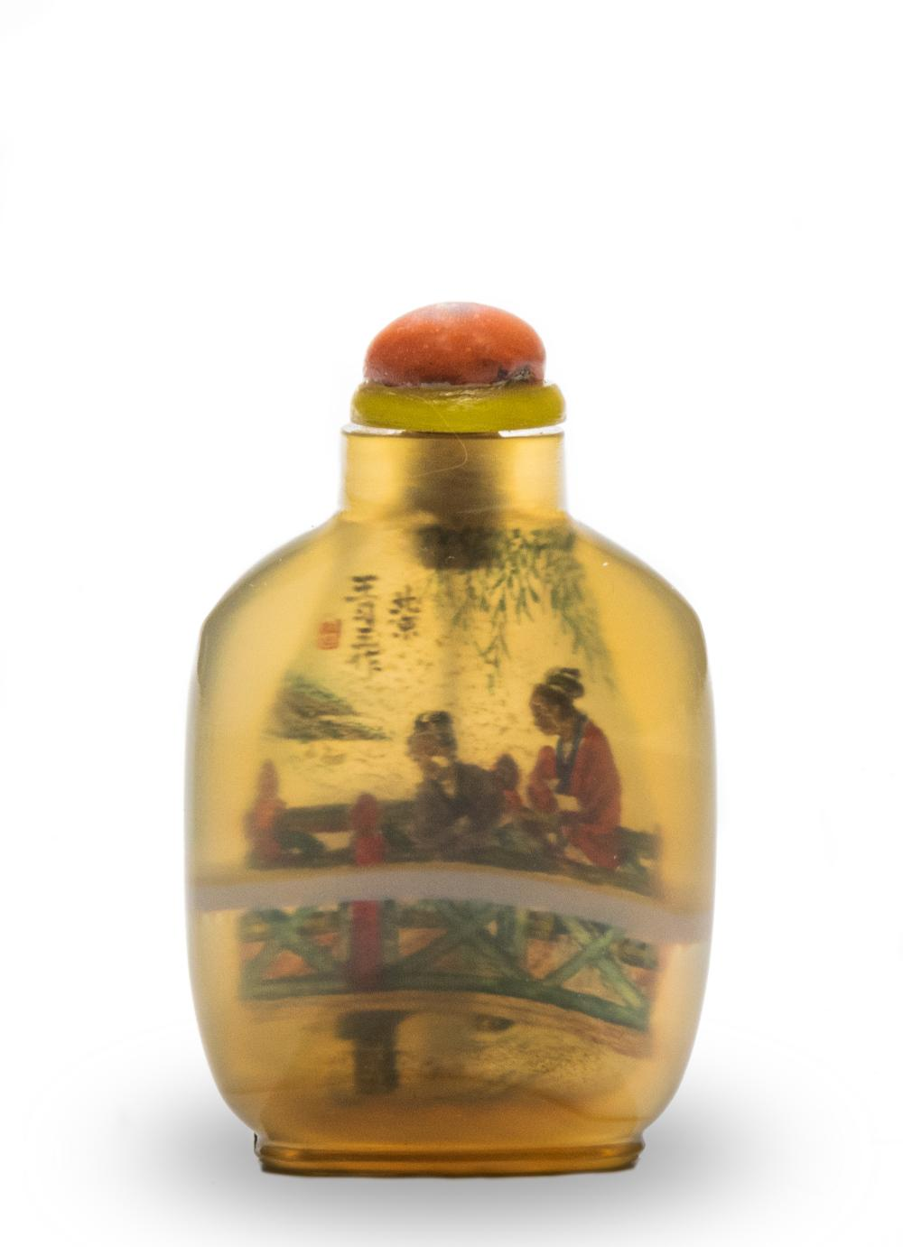 AGATE INSIDE-PAINTED SNUFF BOTTLE BY WANG XISAN