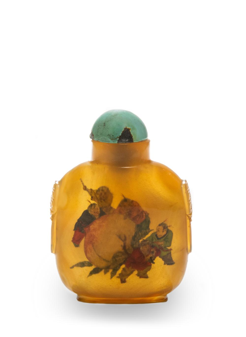 AGATE INSIDE-PAINTED SNUFF BOTTLE BY YE XIAOFENG