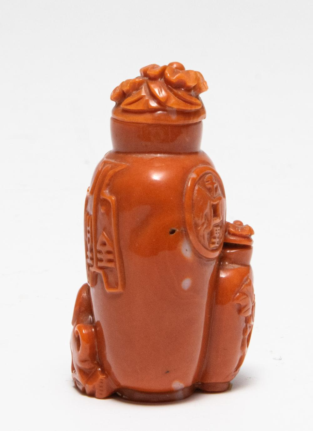 Lot 613: CHINESE CORAL CARVED SNUFF BOTTLE, 19TH CENTURY