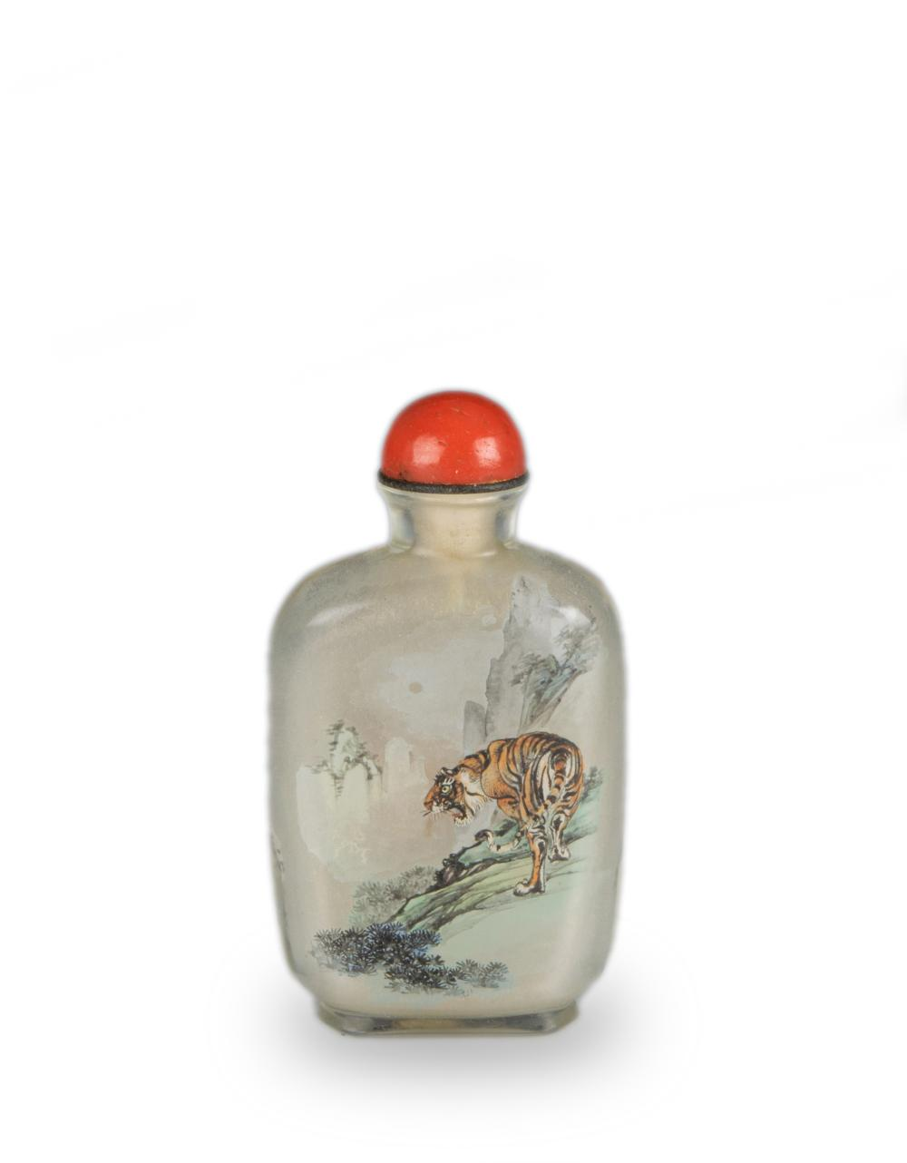 CHINESE INSIDE-PAINTED SNUFF BOTTLE WITH TIGER