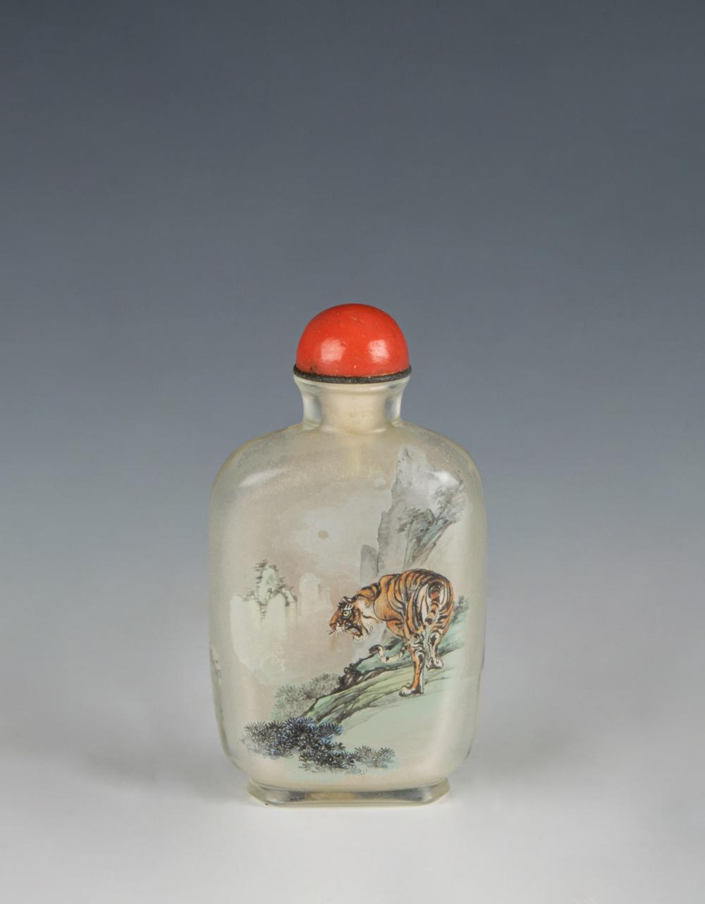 Lot 627: CHINESE INSIDE-PAINTED SNUFF BOTTLE WITH TIGER