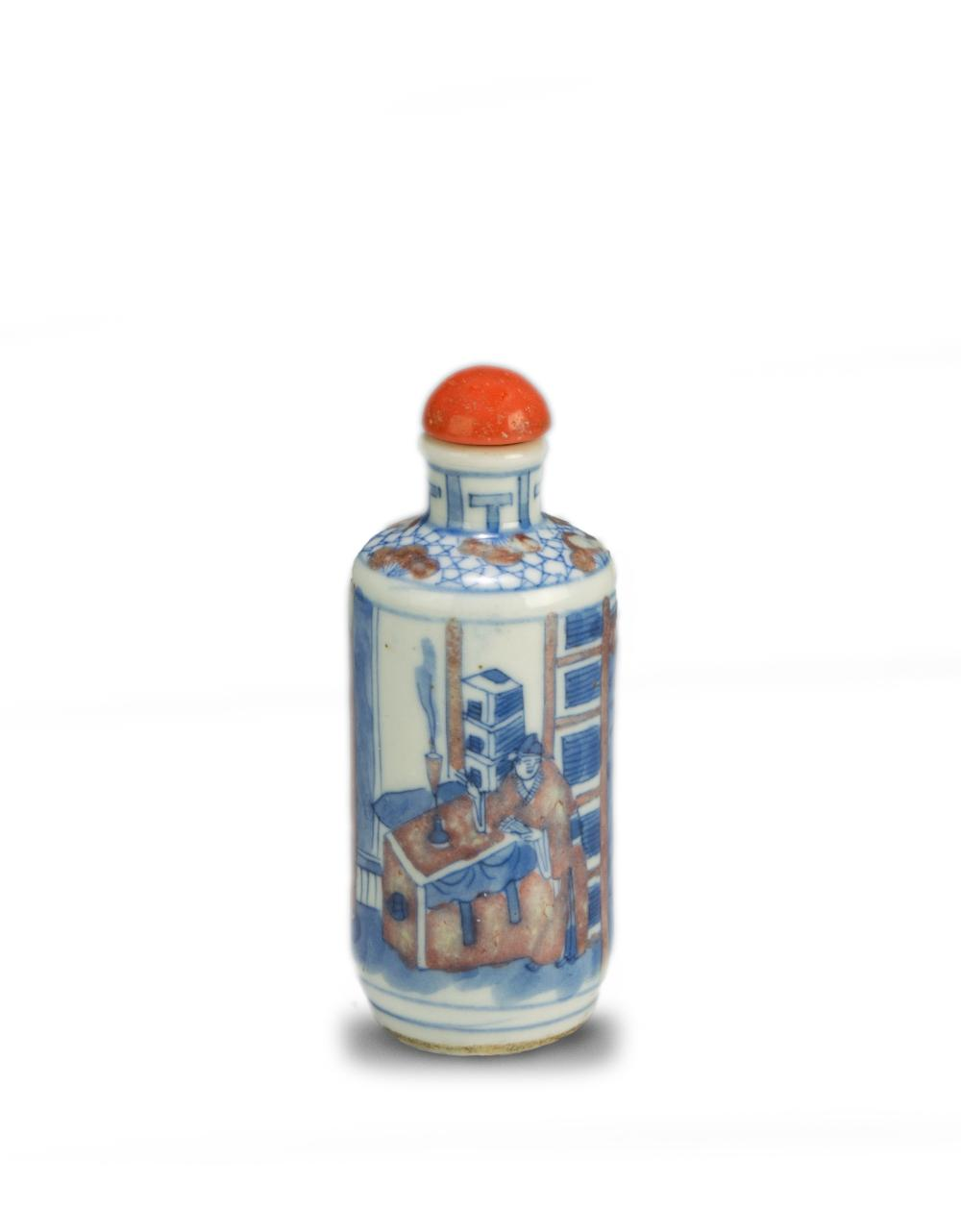 CHINESE BLUE & RED UNDERGLAZE SNUFF BOTTLE
