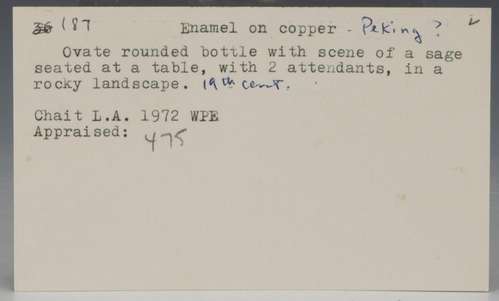 Lot 634: CHINESE ENAMEL SNUFF BOTTLE, 18-19TH CENTURY