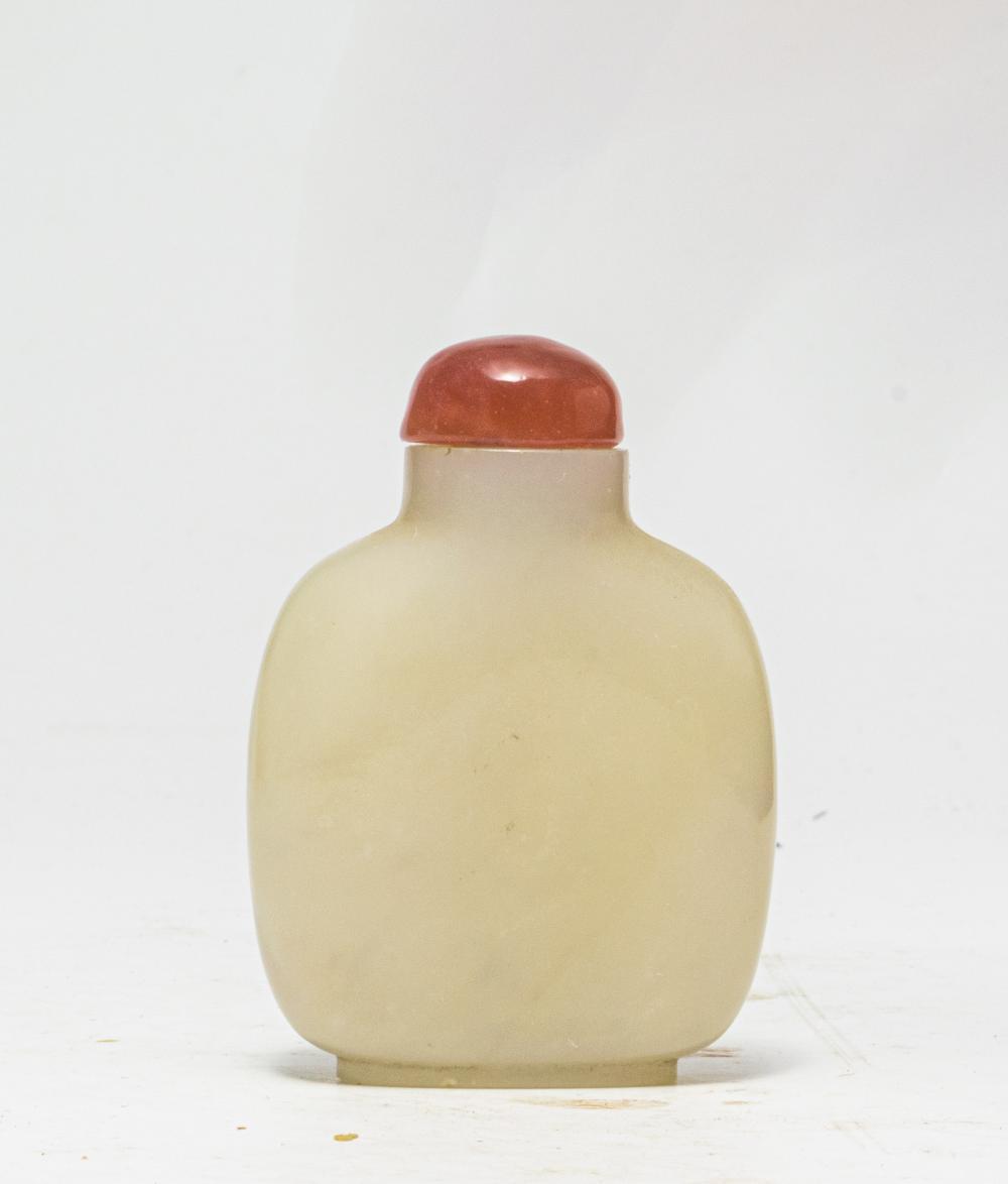 Lot 646: CHINESE WHITE JADE SNUFF BOTTLE, 18-19TH CENTURY