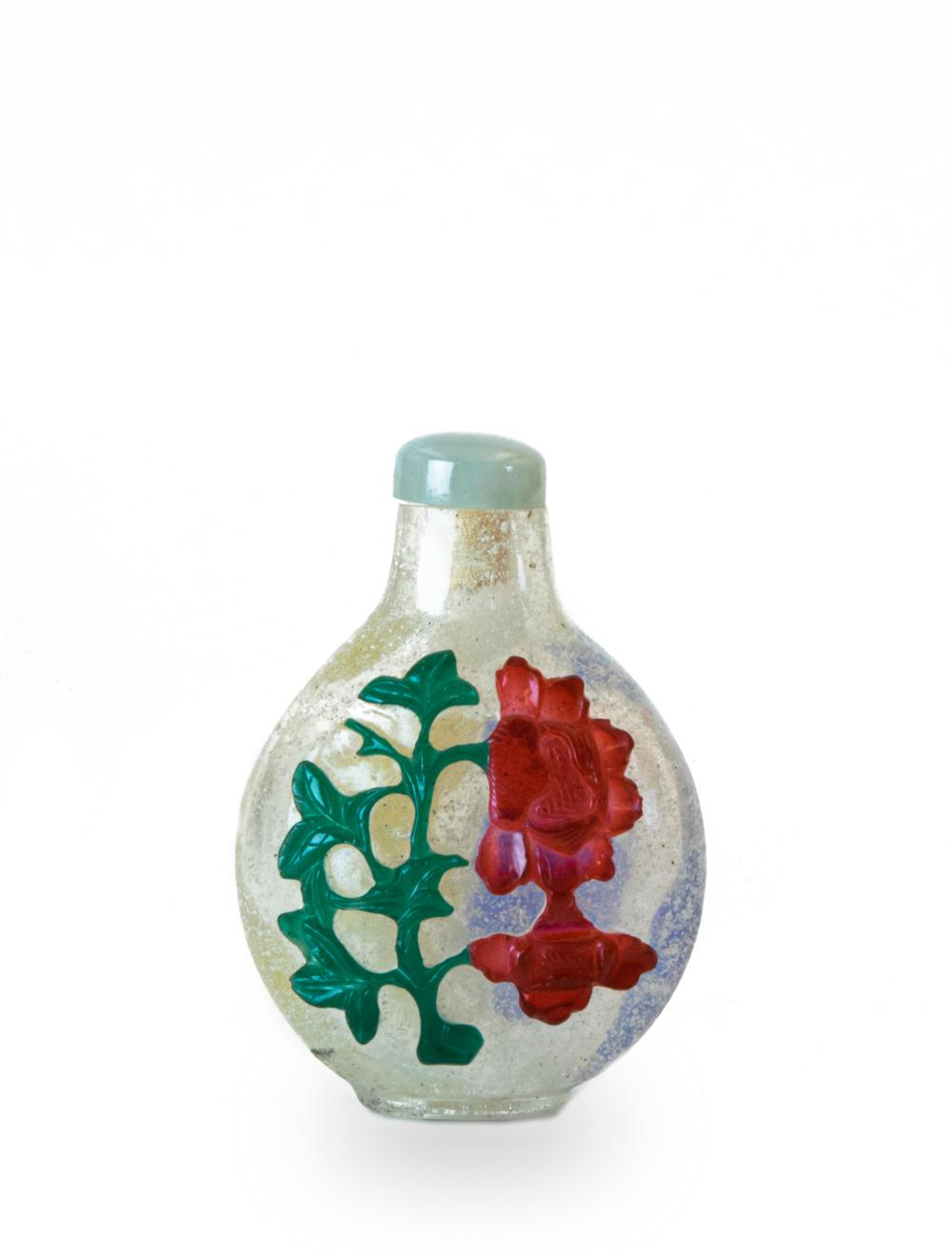 CHINESE PEKING GLASS 4 COLOR SNUFF BOTTLE, 19TH CENTURY