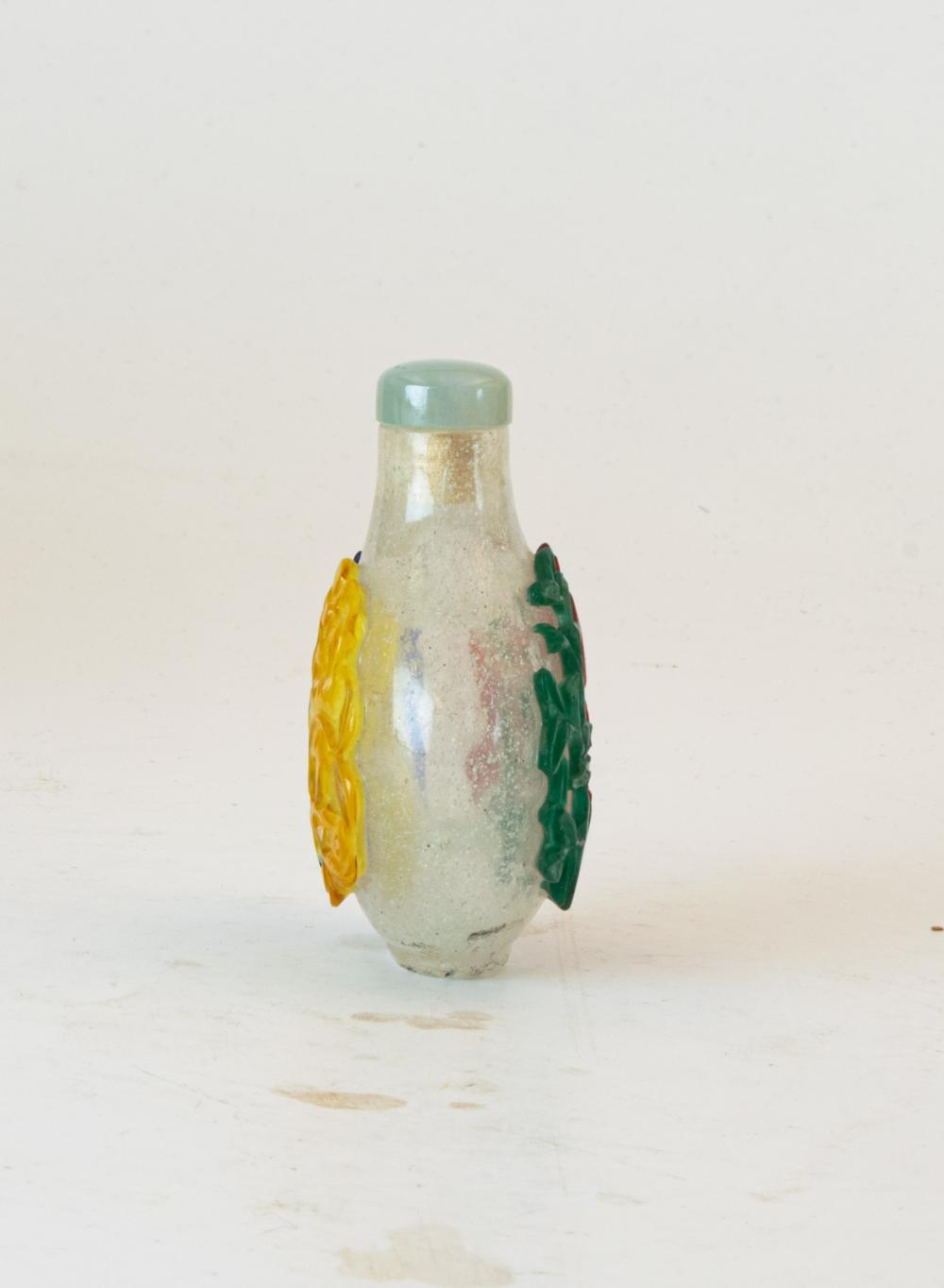 Lot 668: CHINESE PEKING GLASS 4 COLOR SNUFF BOTTLE, 19TH CENTURY
