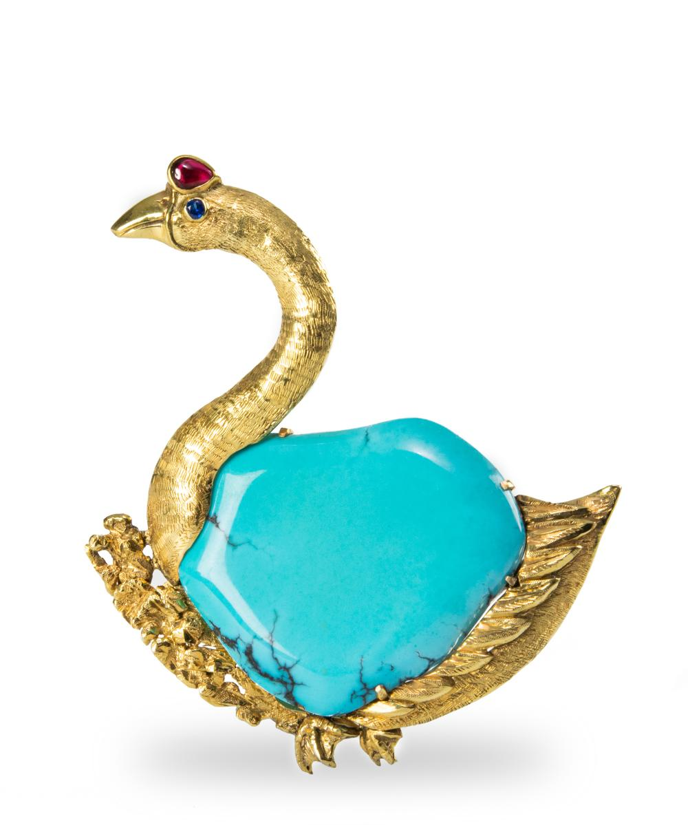 CHINESE 14K GOOSE BROOCH WITH TURQUOISE