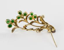 Lot 915: CHINESE BROOCH WITH 9 JADEITE CABOCHONS, REPUBLIC