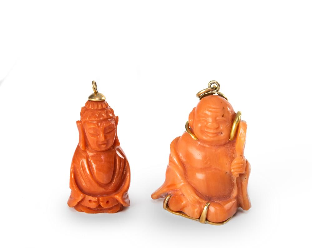 TWO CORAL CARVED BUDDHA PENDANTS, 19TH CENTURY