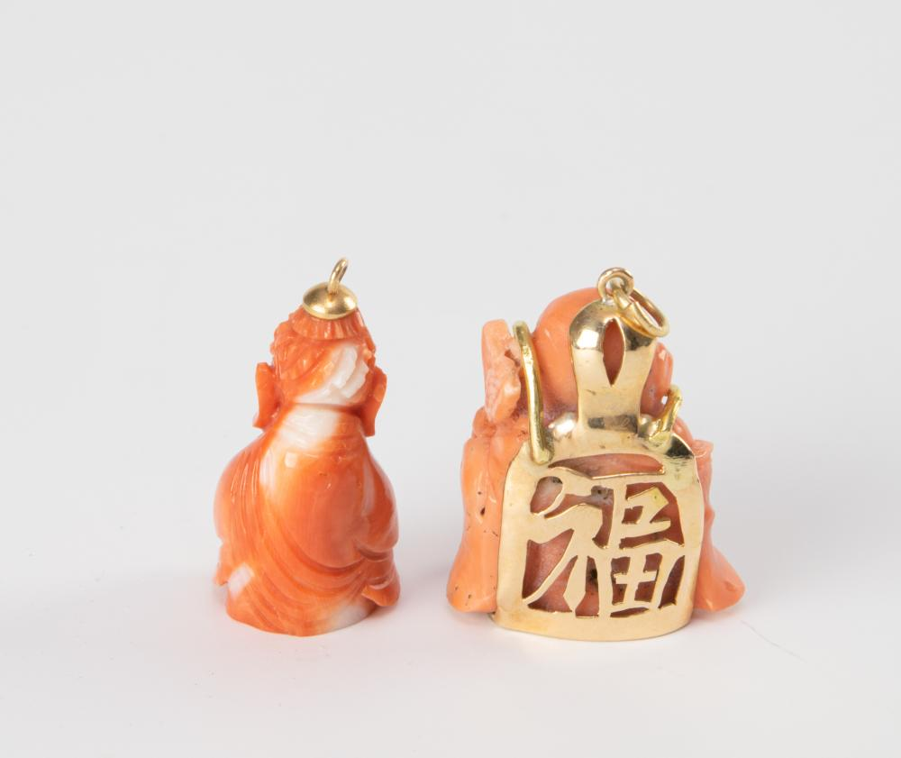Lot 916: TWO CORAL CARVED BUDDHA PENDANTS, 19TH CENTURY