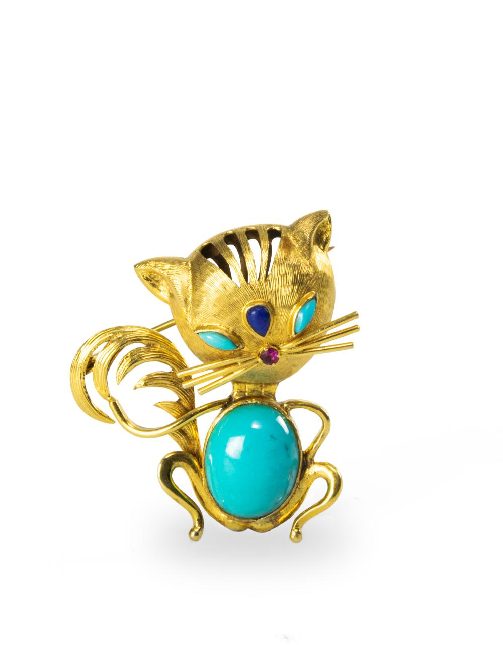 CHINESE CAT 14K BROOCH WITH TURQUOISE