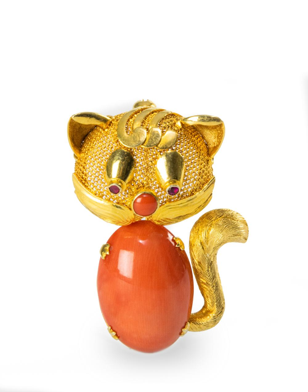 CHINESE CORAL CAT 14K BROOCH