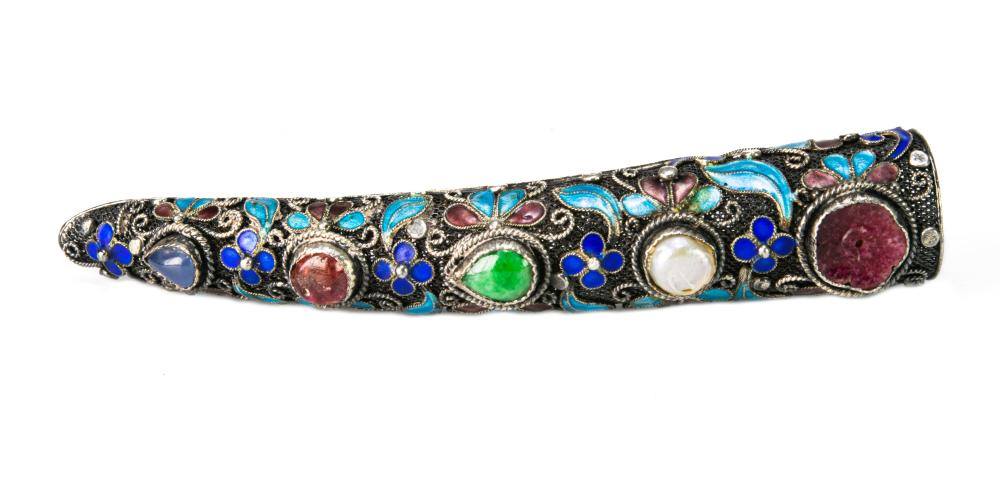 CHINESE ENAMELED FINGERNAIL GUARD BROOCH