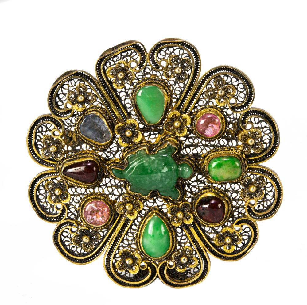 CHINESE GILT SILVER BROOCH WITH PRECIOUS STONES