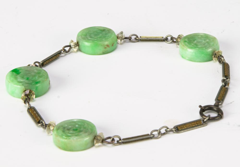 Lot 929: CHINESE SILVER BRACELET WITH 4 JADEITE BEADS