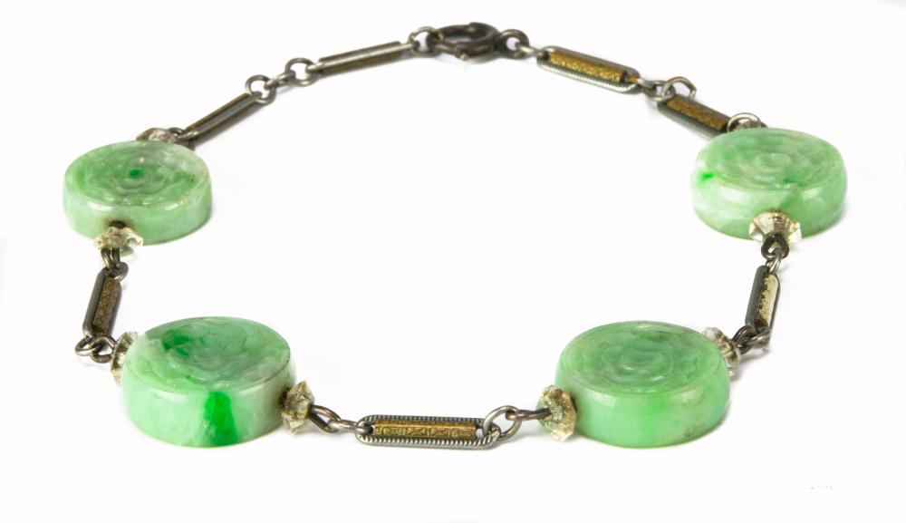 CHINESE SILVER BRACELET WITH 4 JADEITE BEADS