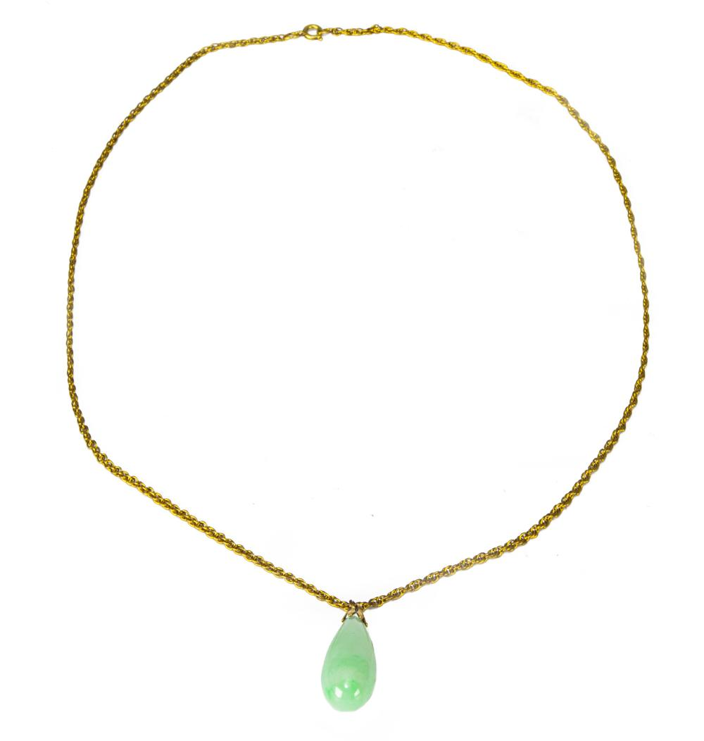 CHINESE JADEITE TEARDROP TOGGLE WITH 14K GOLD CHAIN