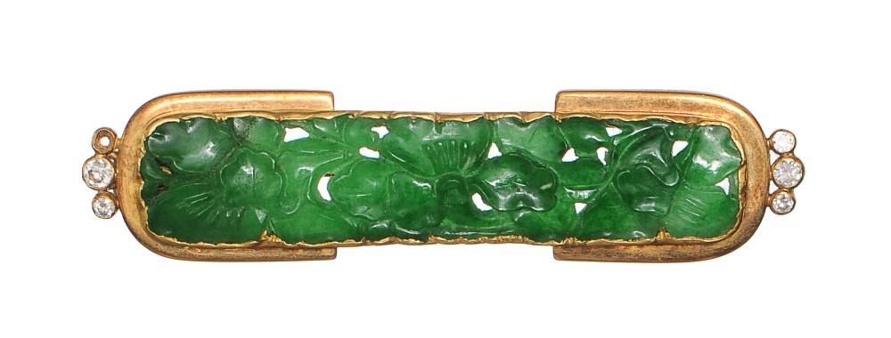 CHINESE JADEITE GOLD BROOCH, 19TH CENTURY