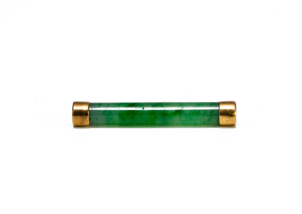 CHINESE JADEITE BAR BROOCH, LATE 19TH CENTURY
