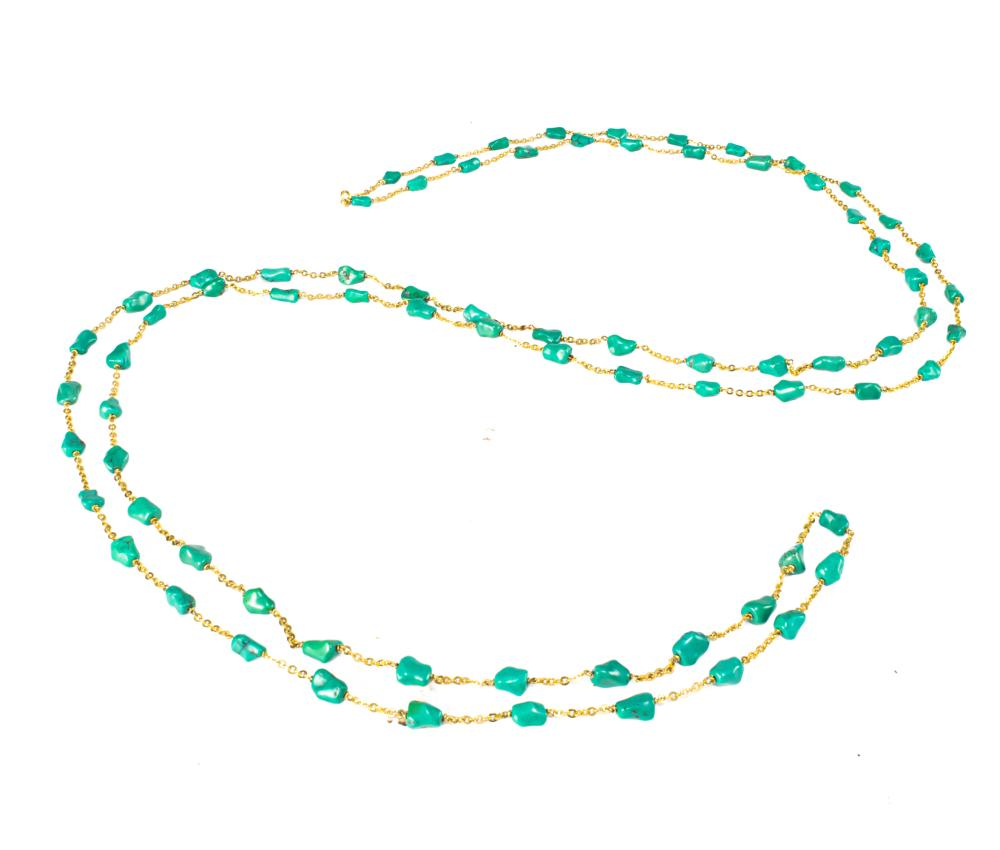 CHINESE BEADED TURQUOISE NECKLACE, 19TH-20TH CENTURY