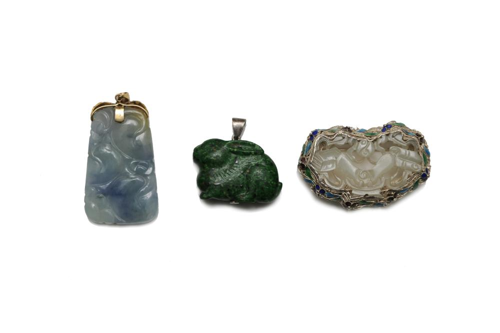 Lot 953: SET OF 3 CHINESE STONE CARVINGS, 18TH-19TH CENTURY