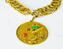 Lot 952: 14K GOLD CHAIN WITH JADEITE AND PRECIOUS STONES