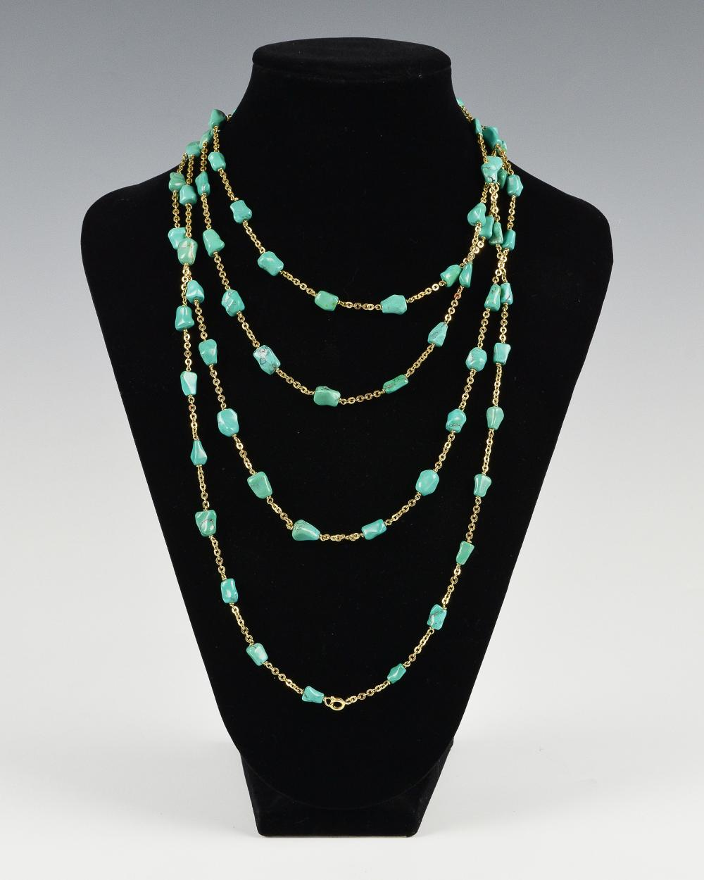 Lot 951: CHINESE BEADED TURQUOISE NECKLACE, 19TH-20TH CENTURY