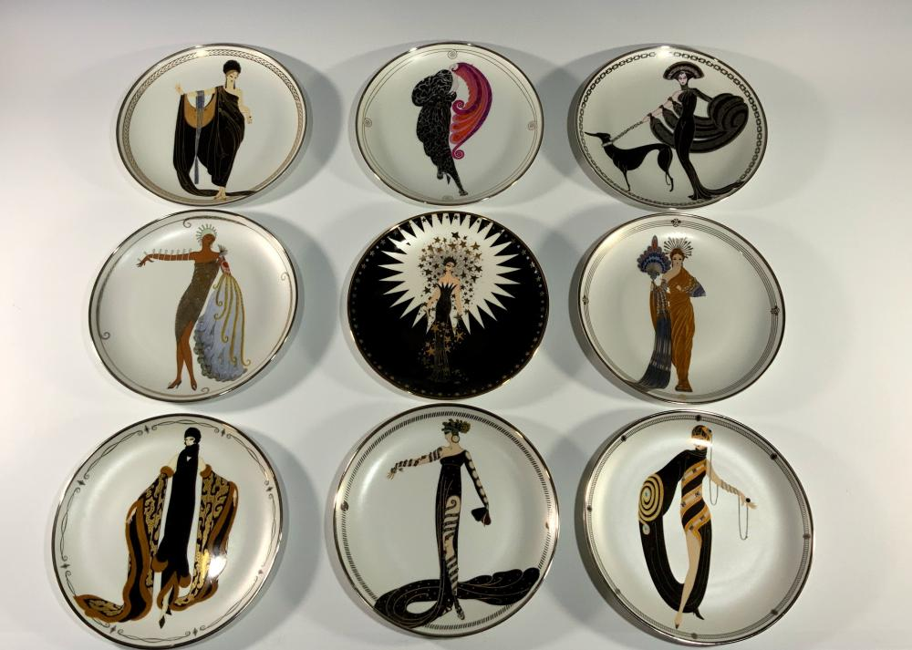 9 LIMITED ED. ERTE PLATES BY FRANKLIN MINT