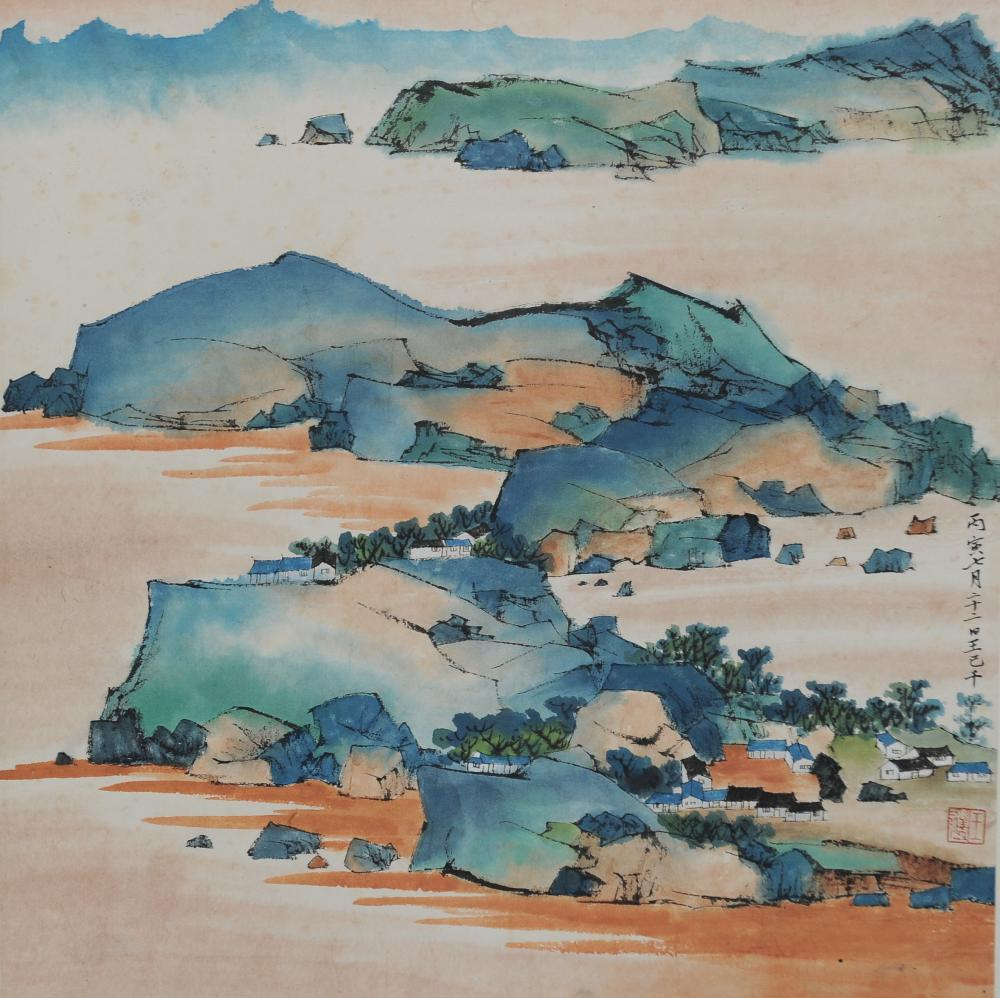 CHINESE PAINTING OF MOUNTAIN VILLAGE, WANG JIQIAN