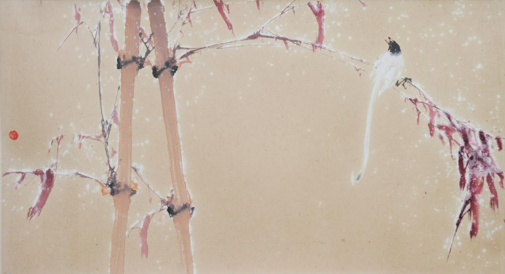 CHINESE PAINTING OF BIRD IN SNOW BY ZHAO SHAOANG