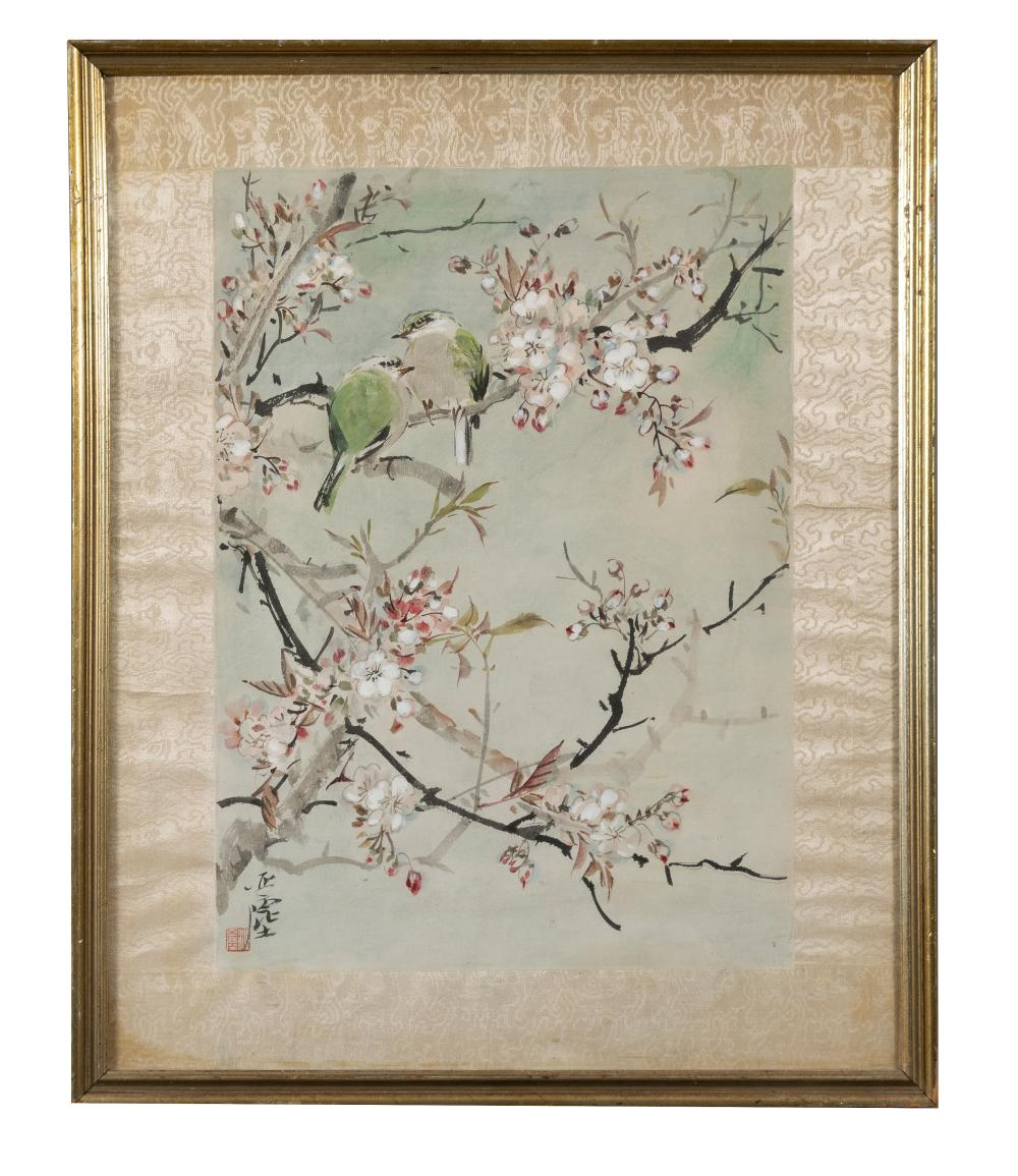 CHINESE PAINTING OF FLOWERS & BIRDS BY WANG YACHEN