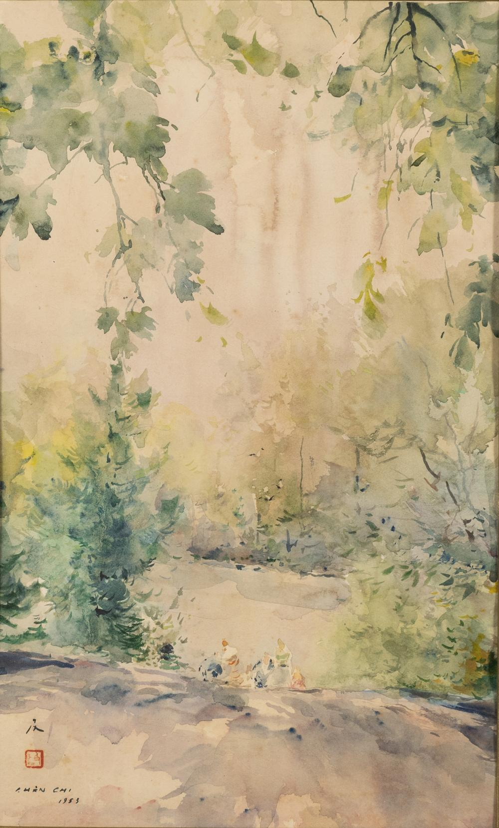 WATERCOLOR PAINTING OF GARDEN SCENE BY CHENG CHI
