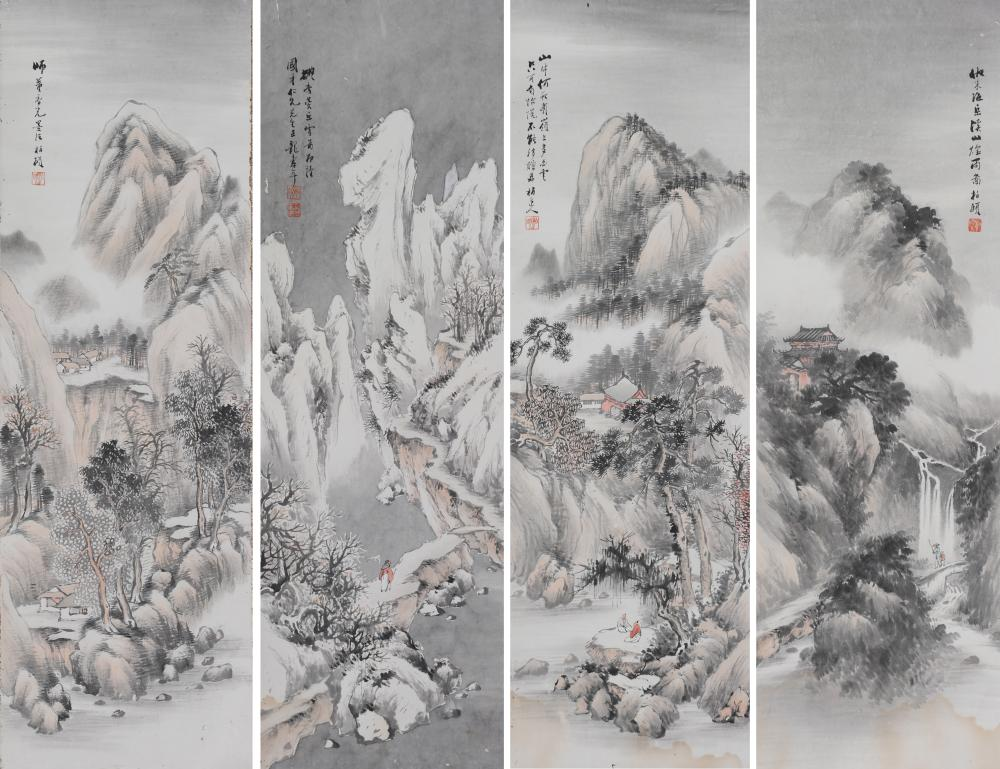 SET OF 4 LANDSCAPE PAINTINGS, RONG SOUNIAN