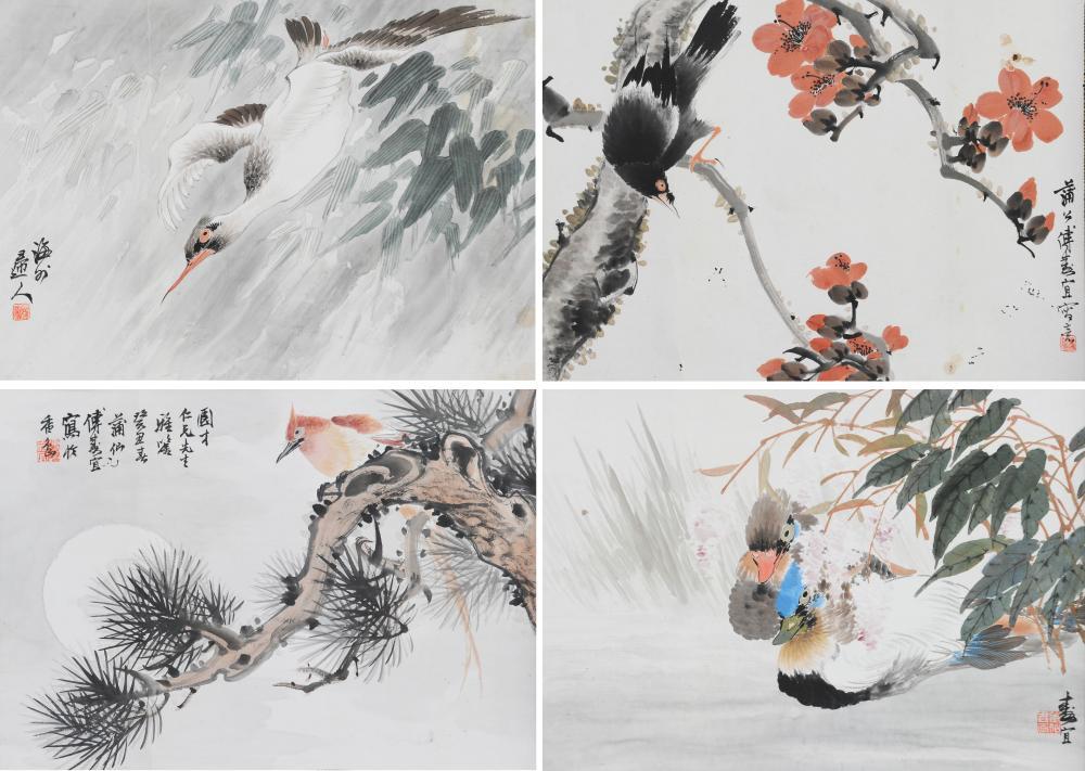 SET OF 4 BIRD & FLOWER PAINTINGS, FU SOUYI