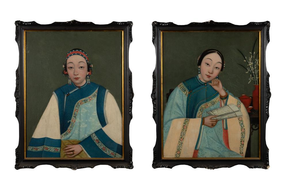 PAIR OF EXPORT OIL PAINTINGS OF LADIES, 19TH C.