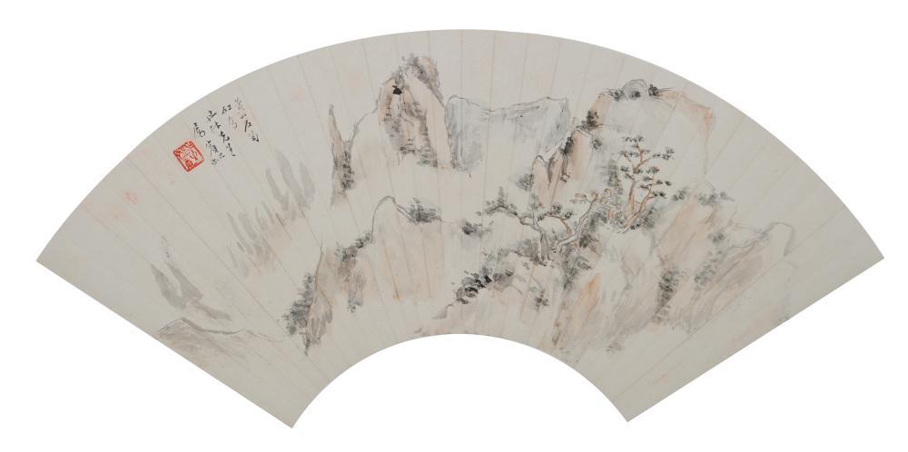 LANDSCAPE FAN PAINTING BY HUANG BINHONG