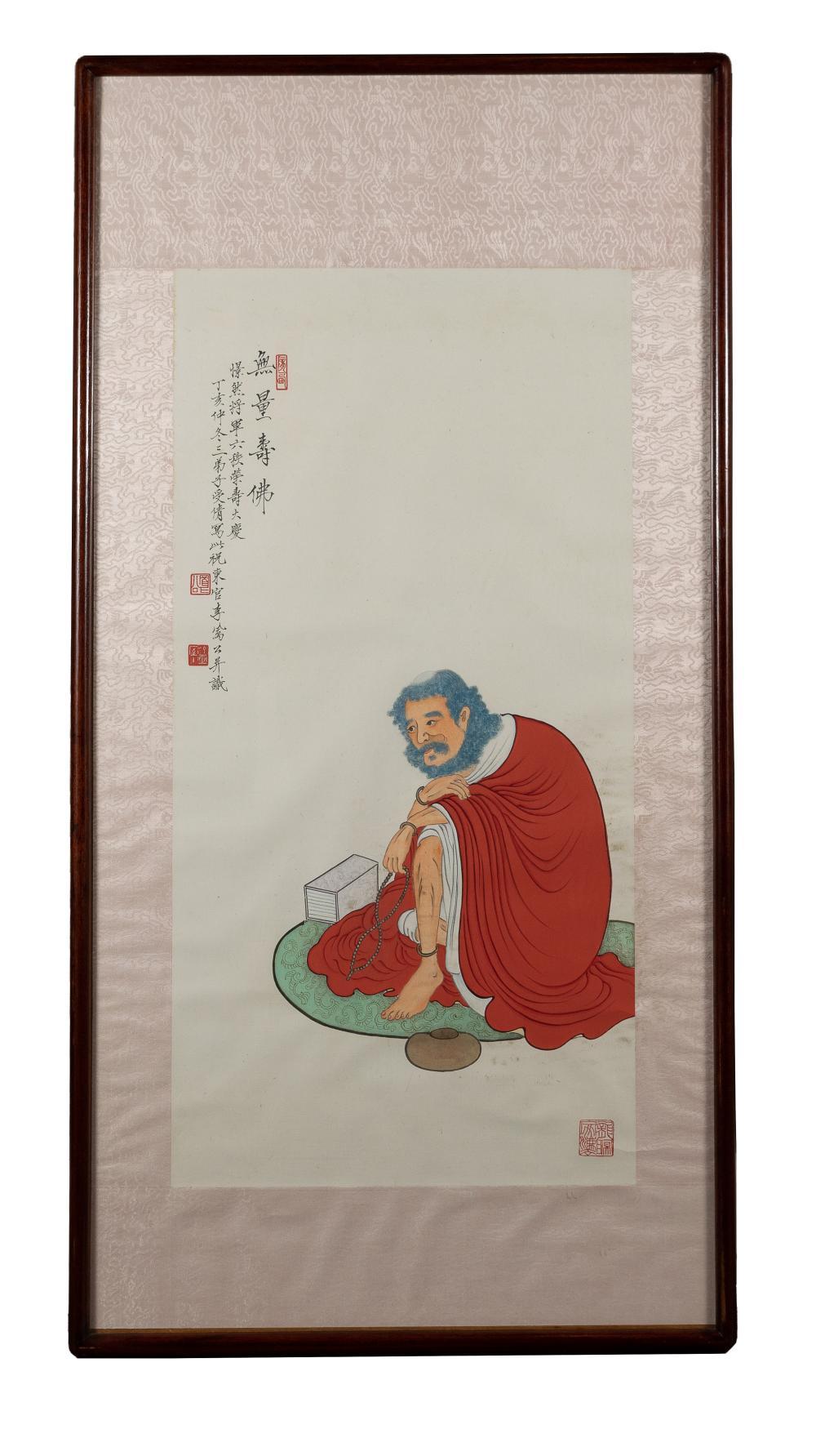 CHINESE PAINTING OF A BUDDHA BY LI FENGGONG