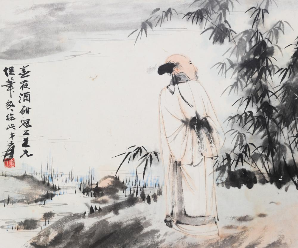 PAINTING OF SCHOLAR, ZHANG DAQIAN, GIVEN TO GUANWU