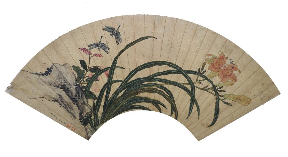 CHINESE FAN PAINTING OF FLOWERS BY JIANG TINGXI