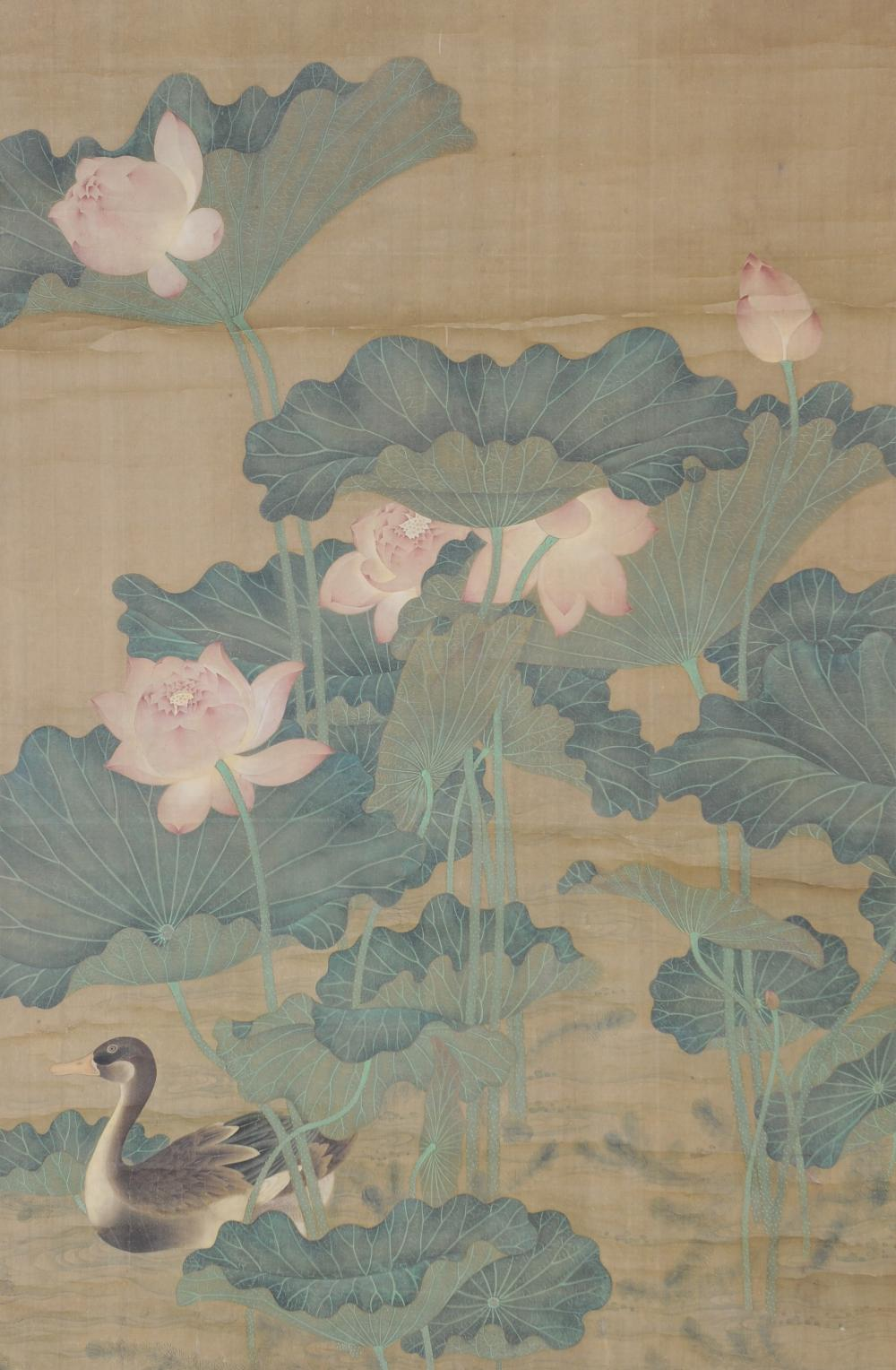 CHINESE PAINTING OF DUCK W/ LOTUSES, ZHOU ZHIMIAN