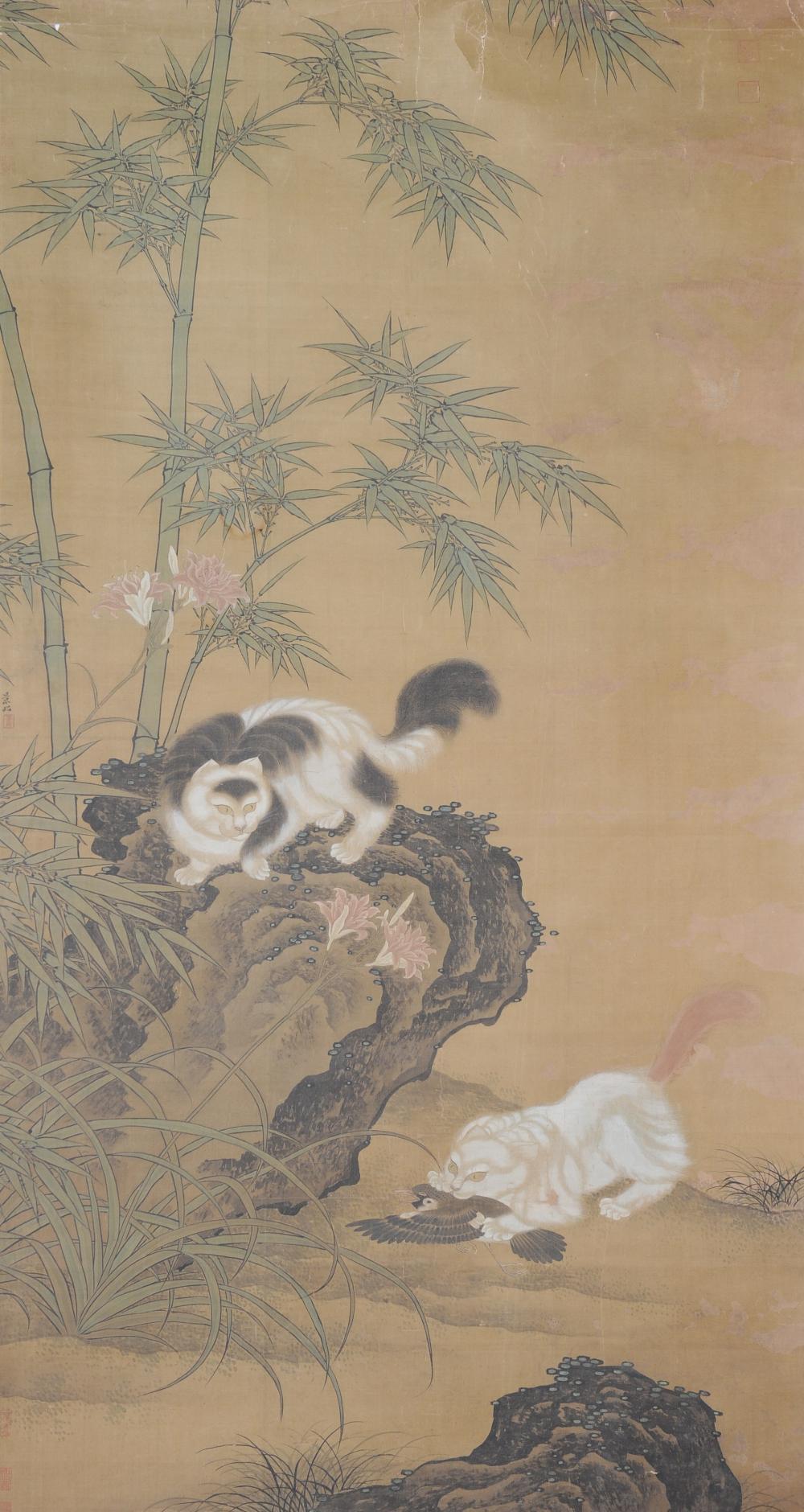 PAINTING OF BAMBOO & CATS, ATTRIB. BIAN JINGZHAO