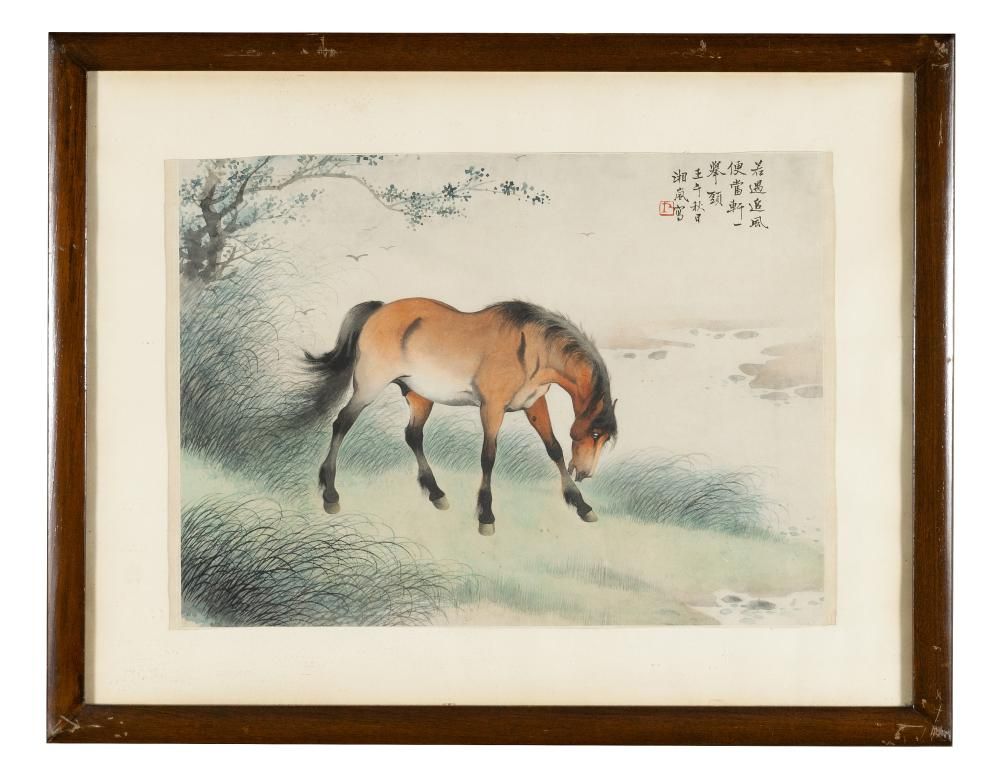 CHINESE PAINTING OF A BAY HORSE BY GE XIANGLAN