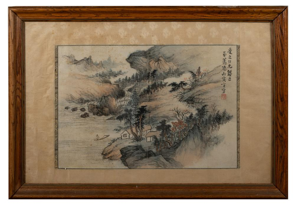 FRAMED LANDSCAPE PAINTING BY XIAO XUN