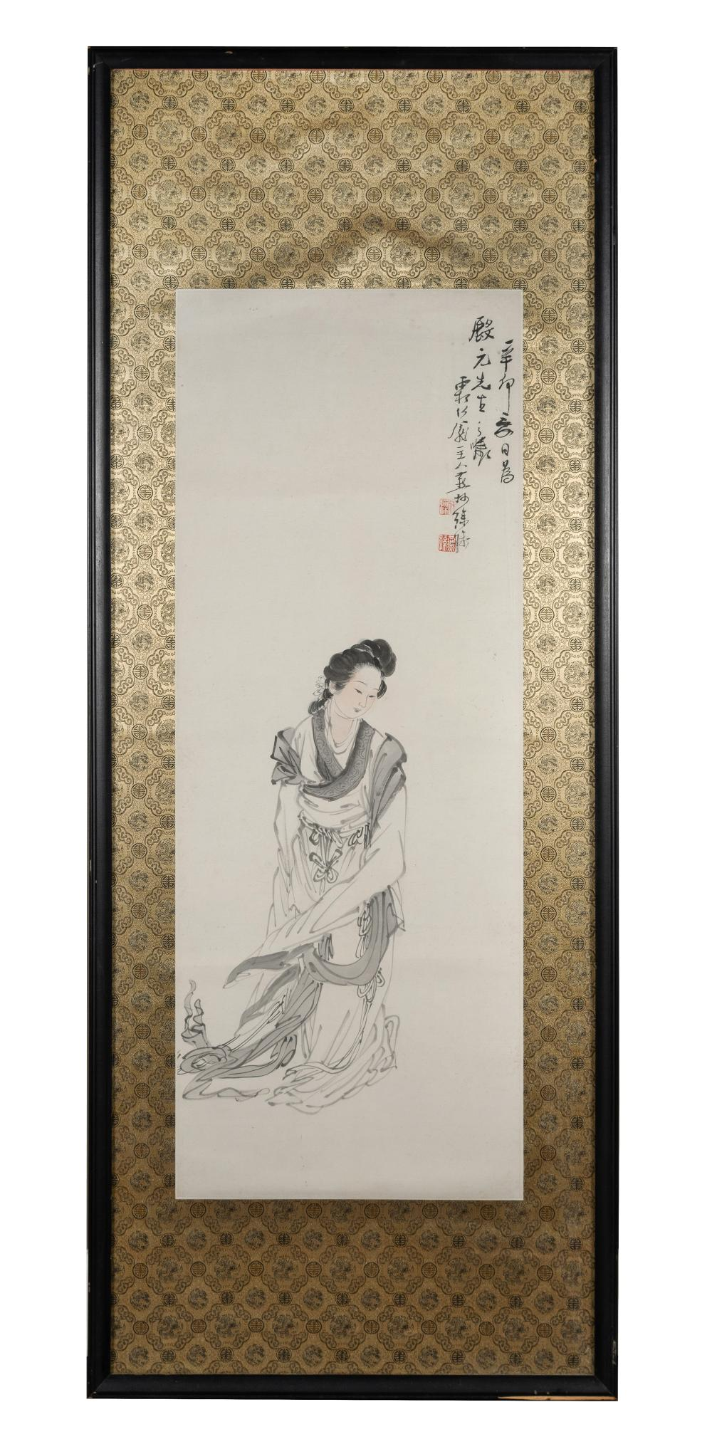 FRAMED PAINTING OF COURT LADY BY XU CHAO